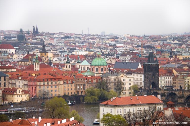 Top View Prague Orange Roof Charles Bridge